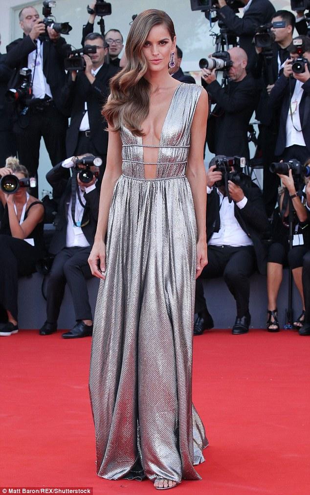 Izabel-Goulart-dazzles-in-plunging-silver-gown-for-Venice-Film-Festivalferretti